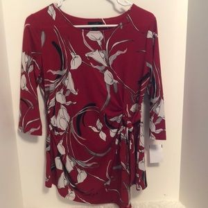 Alfani red blouse with calla lily pattern. Size S